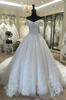 Vestido de novia Falta Apliques Iglesia Escote con Hombros caídos Encaje