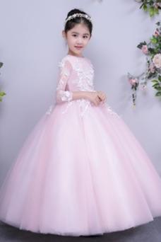 Vestido niña ceremonia Joya Cremallera Corte-A Bordado Invierno Mangas Illusion