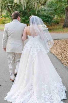 Vestido de novia Playa Corte-A Apliques Natural Elegante Escote Corazón
