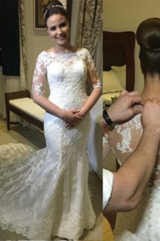 Vestido de novia Corte Sirena Manga de longitud 3/4 Cola Barriba primavera