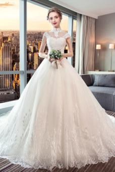 Vestido de novia Encaje Corte-A Natural largo Satén Formal