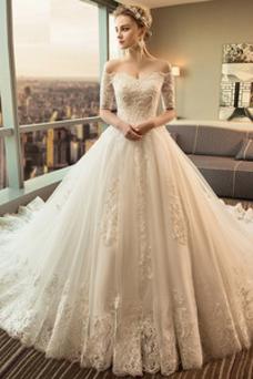 Vestido de novia Cola Real tul Camiseta Abalorio Natural Corte-A