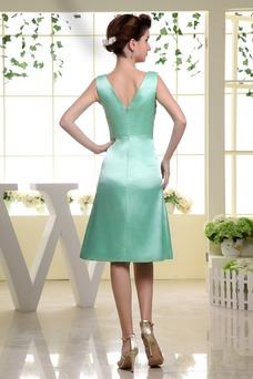 Vestido de dama de honor Corte-A Hasta la Rodilla Natural Satén Espalda medio descubierto