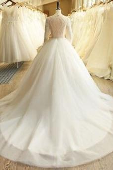 Vestido de novia Manga larga Pera Natural Fuera de casa Mangas Illusion
