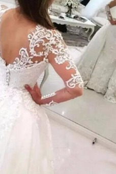 Vestido de novia Natural Falta Baja escote en V Manga larga Otoño Sala
