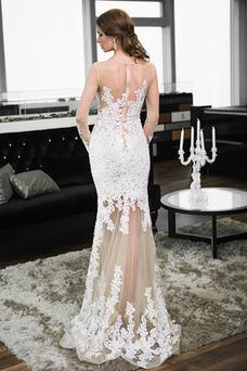 Vestido de novia Corte Recto Moderno Hasta el suelo Verano Encaje Cremallera