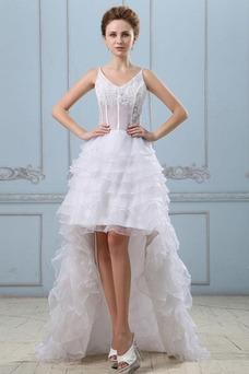 Vestido de novia Sin mangas Alto Bajo Escote de Tirantes Espaguetis