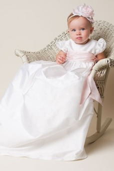 Vestido de Bautizo Rosetón Acentuado Alto cubierto Otoño Flores Manga corta