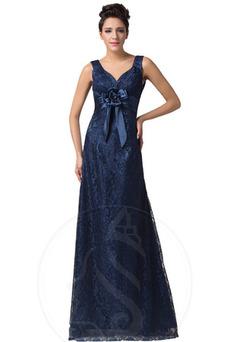 Vestido de noche Corte-A Elegante Escote en V Encaje Flores Capa de encaje