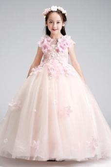 Vestido niña ceremonia Verano Manga corta Flores Hasta el Tobillo Natural