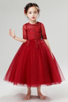 Vestido niña ceremonia Cremallera Hasta la Tibia Encaje Otoño Natural Camiseta