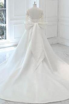 Vestido de novia Elegante Otoño Manga larga Apliques Barco Cordón