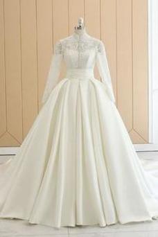 Vestido de novia Natural Formal Satén Otoño Cola Real Alto cubierto