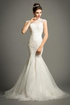 Vestido de novia Apliques Cola Corte Formal Cremallera Corpiño Acentuado con Perla