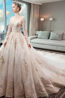 Vestido de novia Abalorio Tallas pequeñas Natural Escote con Hombros caídos