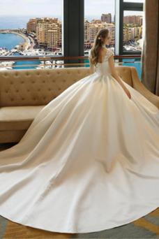 Vestido de novia Capa de encaje Encaje Apliques Escote con cuello Alto