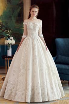 Vestido de novia Falta Satén Cordón Hasta el suelo Barco Bordado