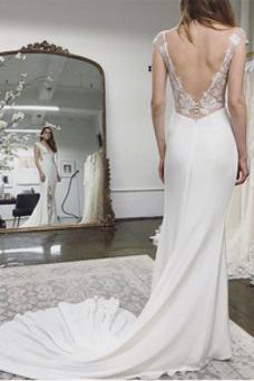 Vestido de novia Escote en V Elegante Espalda Descubierta Corte Recto