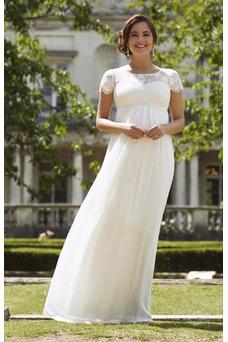 Vestido de novia Imperio Cremallera Encaje Sencillo Natural Hasta el suelo