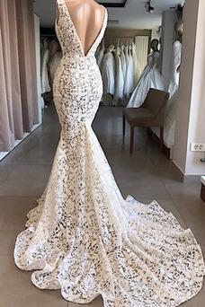 Vestido de novia Sin mangas Cremallera Capa de encaje Encaje Natural