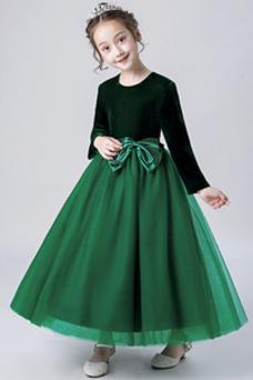 Vestido niña ceremonia Elegante Otoño Hasta el Tobillo Camiseta Fajas Cremallera