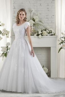 Vestido de novia Corte-A Escote redondo Camiseta Cola Capilla primavera