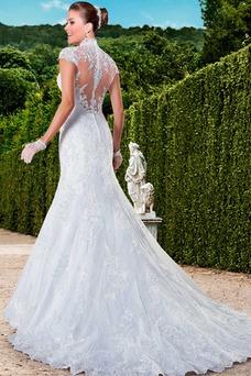 Vestido de novia Cola Capilla Cremallera Natural Encaje Apliques Queen Anne