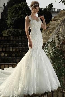 Vestido de novia Corte Sirena Encaje Cremallera Flores Natural Sin mangas