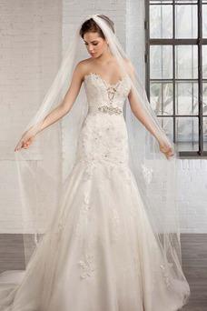 Vestido de novia tul Natural Apliques Espalda Descubierta Escote Corazón