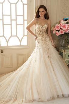 Vestido de novia Cremallera Otoño Sin mangas Natural Escote en V Apliques
