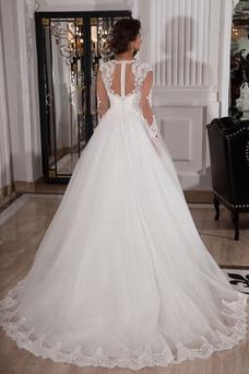 Vestido de novia Corte princesa Cristal Natural Encaje largo Joya