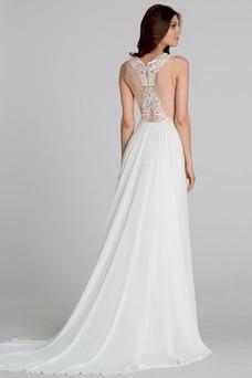 Vestido de novia Encaje Corte-A Sin mangas Escote en V sexy Cremallera