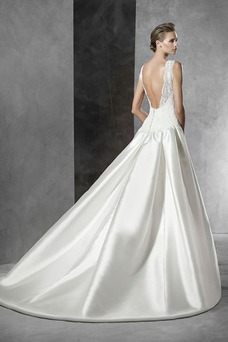 Vestido de novia Corte-A Sin mangas Natural Joya Sala Formal