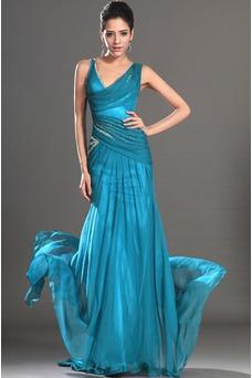Vestido de noche turquesa Escote Asimètrico Drapeado Lateral Elegante Hasta el suelo