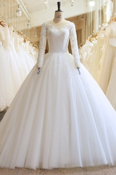 Vestido de novia Elegante Iglesia Satén Camiseta Natural Barco