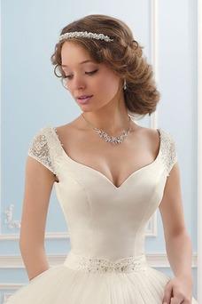 Vestido de novia Botón Natural Cinturón de cuentas Cola Barriba primavera