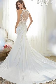 Vestido de novia Corte Sirena Escote de Tirantes Espaguetis Cremallera