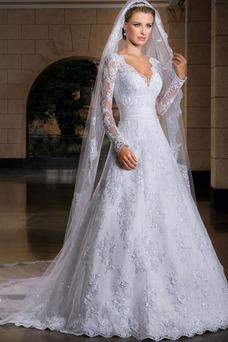 Vestido de novia Clasicos Encaje Alto cubierto Mangas Illusion Corte-A