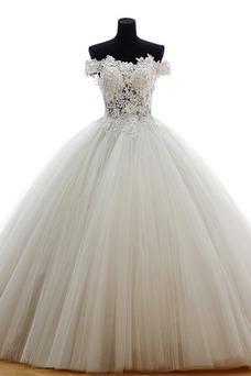 Vestido de novia Escote con Hombros caídos Iglesia Natural Cola Barriba