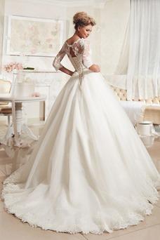 Vestido de novia Otoño Manga de longitud 3/4 Cordón tul Barco Natural