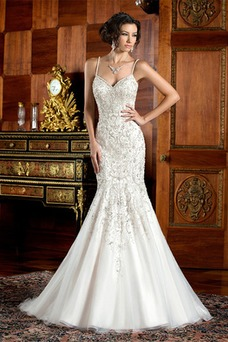 Vestido de novia primavera Organza Sin mangas Escote de Tirantes Espaguetis
