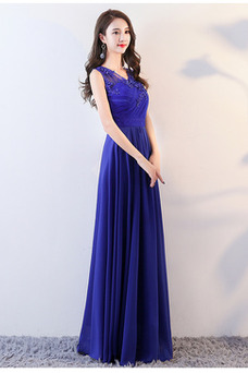 Vestido de dama de honor Hasta el suelo Corte-A Gasa Elegante Apliques Escote en V