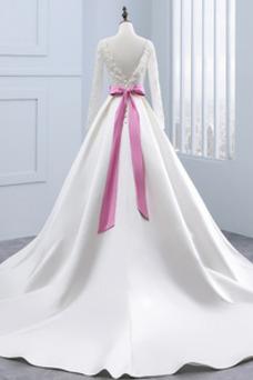 Vestido de novia Manga larga Mangas Illusion Satén Corte-A Cinturón de cuentas
