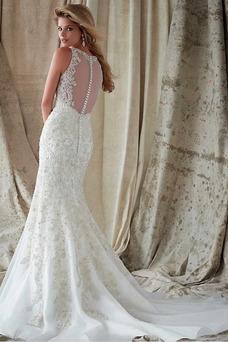 Vestidos de novia estilo vintage Encaje Espalda con ojo de cerradura Iglesia