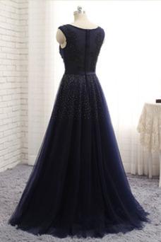 Vestido de madrina Invierno Natural Rectángulo Corte-A Cremallera Abalorio