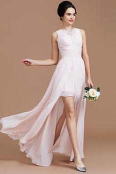 Vestido de dama de honor Abertura en el muslo Cremallera Hasta el Tobillo Moderno