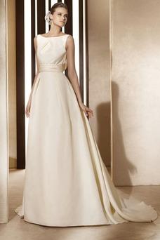 Vestido de novia vintage Diosa Barco Sin mangas Otoño Marfil