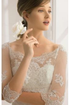 Vestido de novia Corte Sirena Falta Pura espalda Manga de longitud 3/4