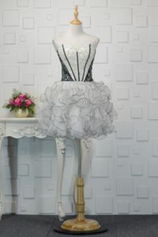 Vestido de cóctel Corte-A Natural Corpiño Acentuado con Perla Drapeado