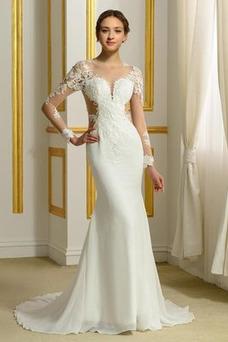 Vestido de novia Encaje Corte Recto Natural Espalda Descubierta Fuera de casa